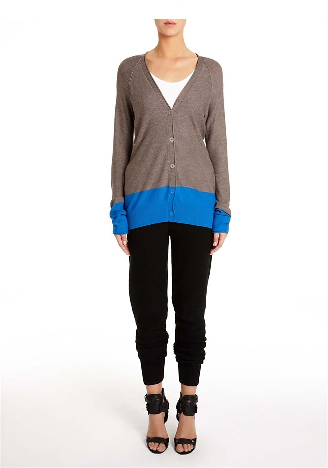Pebble & Lapis Viscose Blend Lightweight Color Block Cardigan - Alexander Wang