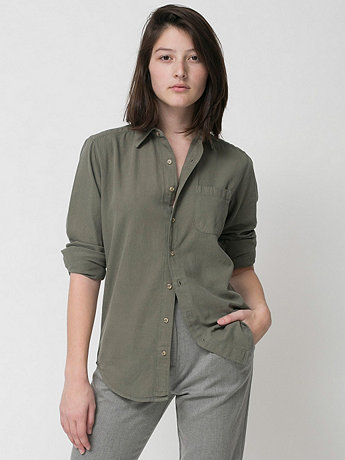 Unisex Denim Long Sleeve Button-Up with Pocket | American Apparel