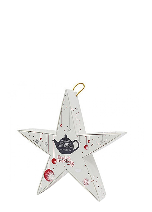 ENGLISH TEA SHOP Christmas Holiday Collection White Star filled with Organic Tea Bags x 6 - Harvey Nichols