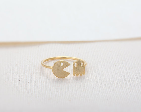 PacMan and Ghost Ring Gold // R013GD // Gold Plated by CreaMellow