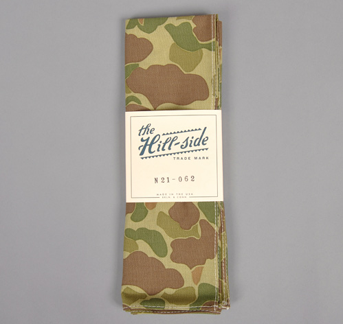 N21-062 REVERSIBLE CAMO PRINT HERRINGBONE TWILL BANDANA :: HICKOREE'S HARD GOODS