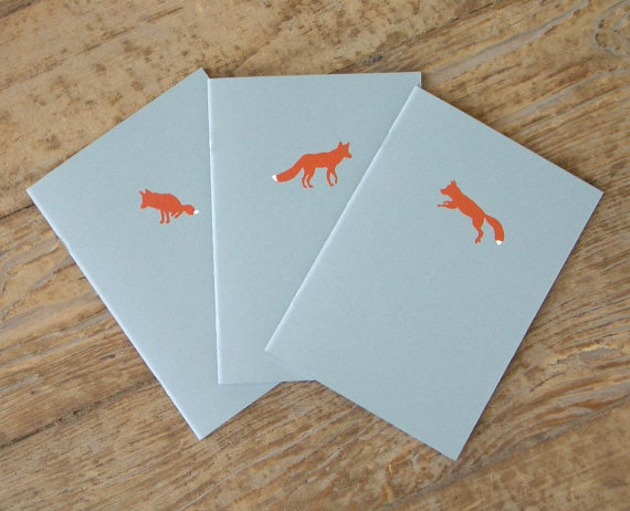 Fox Notebooks Set of 3 Cahiers by LittleAlexander on Etsy