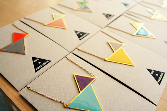 Twin triangle necklace by hugaporcupine on Etsy