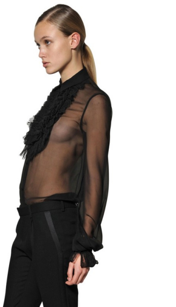 Saint Laurent Ruffled Lace On Silk Georgette Shirt in Black | Lyst