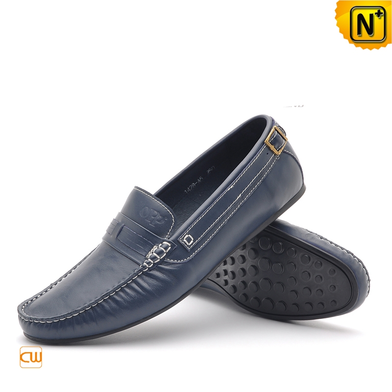 Mens Casual Blue Leather Tods Shoes Loafers CW712428 | CWMALLS