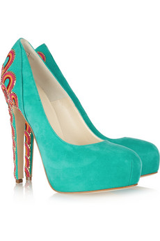 Brian Atwood|Claudia embroidered suede pumps|NET-A-PORTER.COM