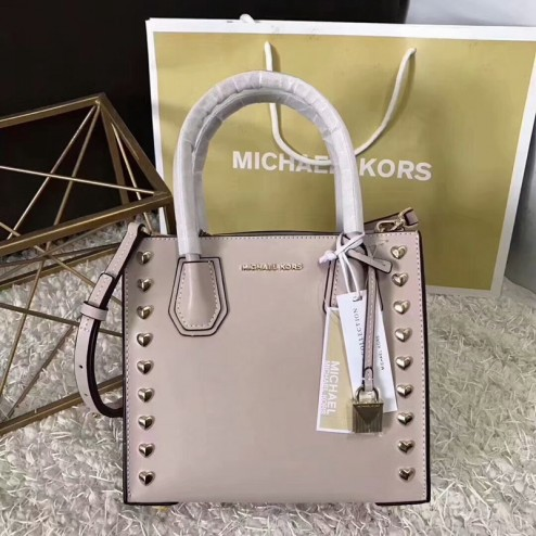 MICHAEL Michael Kors Mercer Heart Studded Leather Tote Apricot