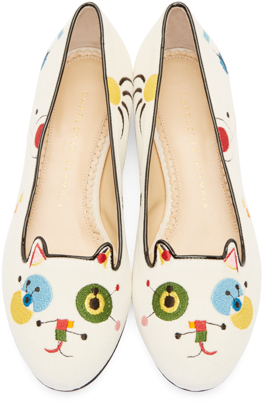 Charlotte Olympia: White Velvet Abstract Kitty Flats | SSENSE