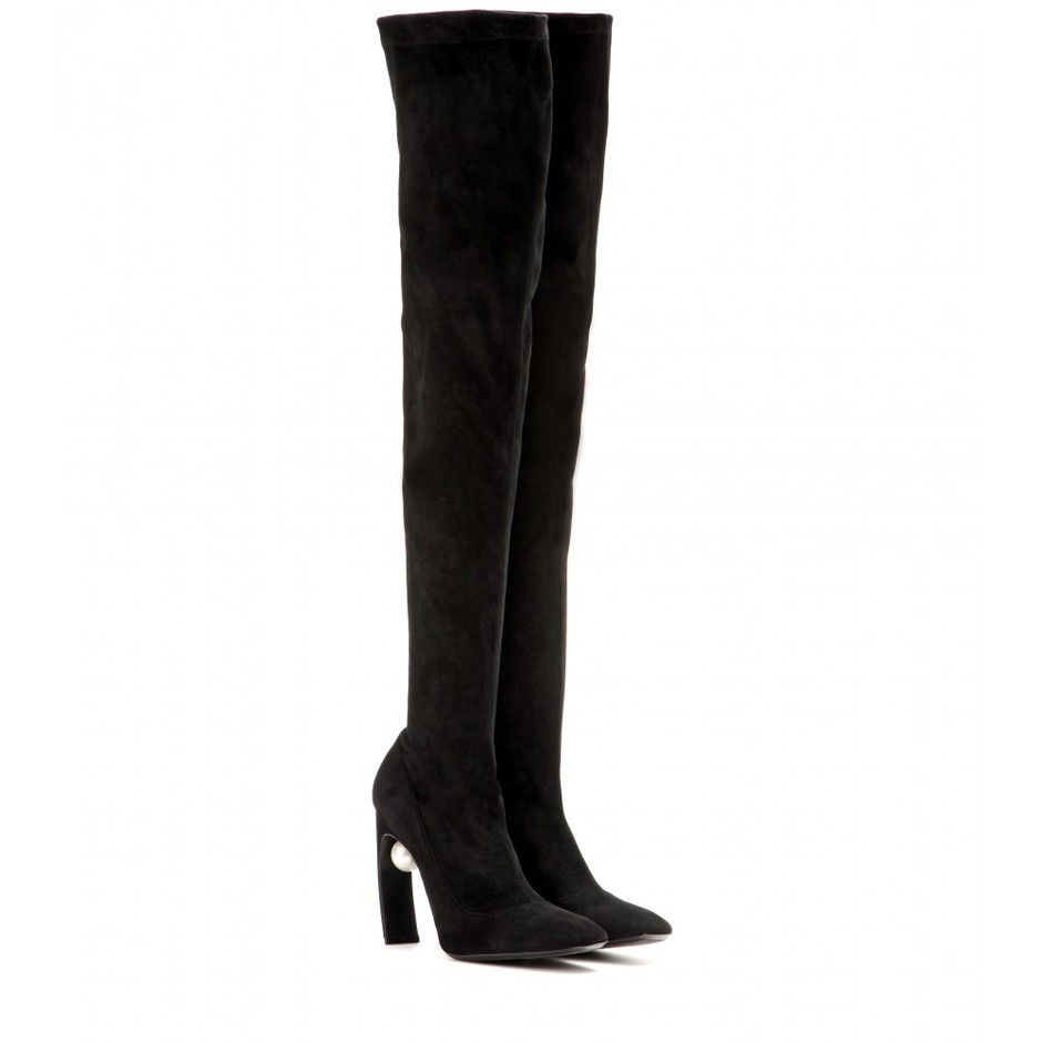 mytheresa.com - Over-the-knee suede boots - High-heel - Boots - Shoes - Nicholas Kirkwood - Luxury Fashion for Women / Designer clothing, shoes, bags