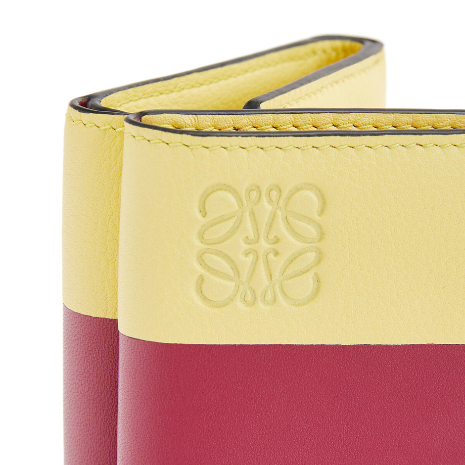 Color Block Trifold Wallet Raspberry/Yellow - ロエベ