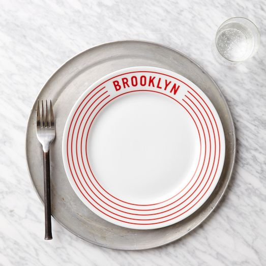 Red Stripe Pizza Plates - Brooklyn | west elm
