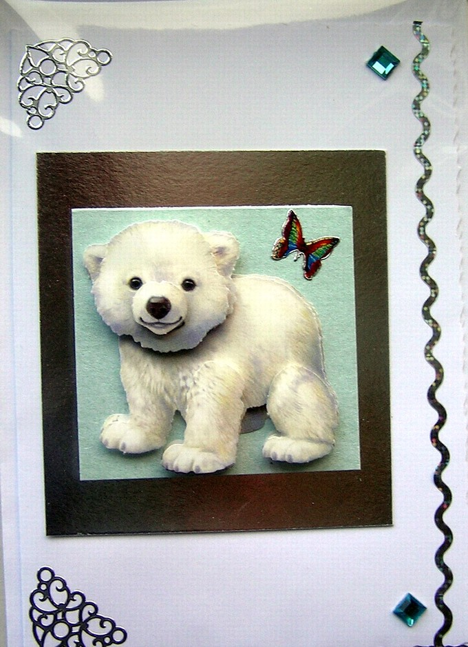 Adorable Polar Bear Cub Hand-Crafted 3D Decoupage Card - Blank For Any Occasion (1429) | Luulla