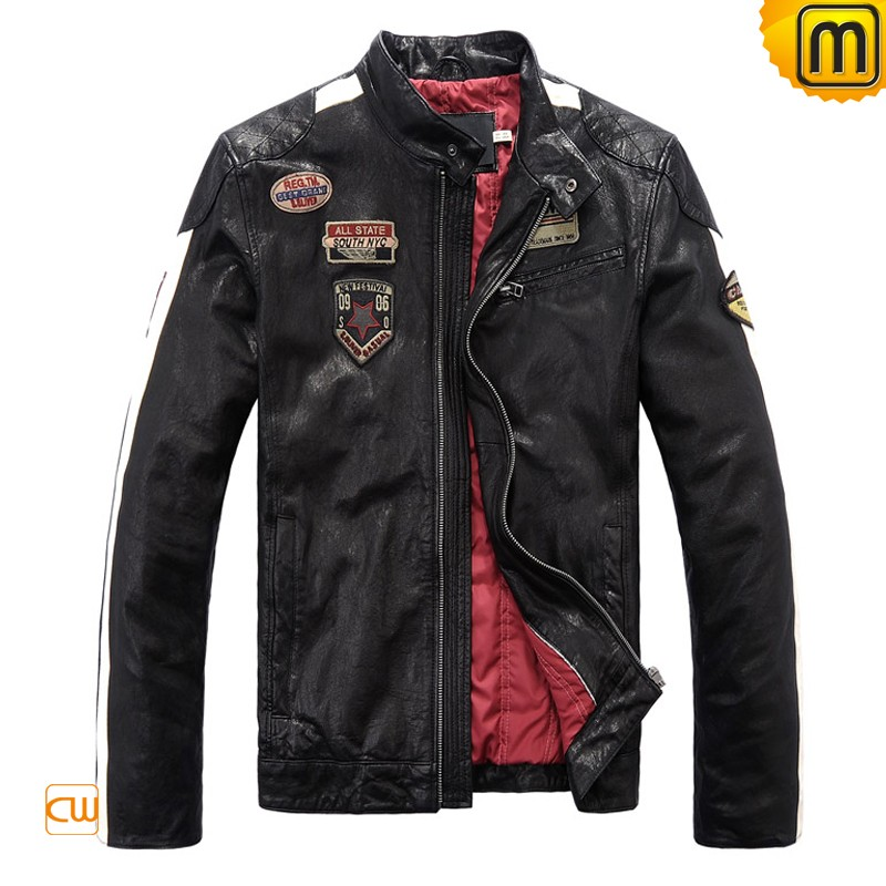Men's Black Leather Motorcycle Jacket CW813028
