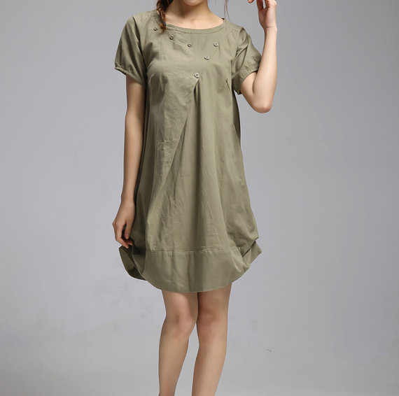 Summer dress/ cotton pleated Short sleeve dress with by MaLieb