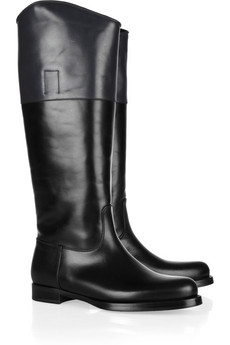 Jil Sander | Two-tone leather riding boots | NET-A-PORTER.COM