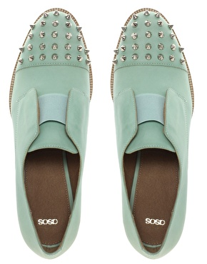 ASOS | ASOS MITCHELL Leather Flat Shoes With Spike Detail at ASOS