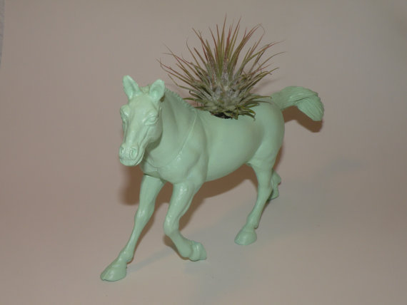Live air plant in mint green horse planter by BloominHappy2009