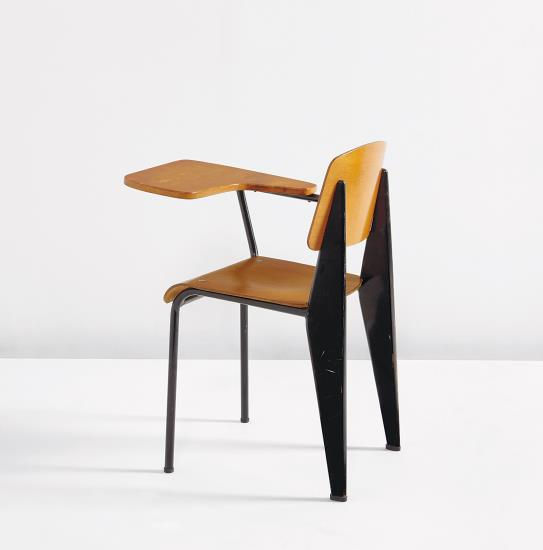 """PHILLIPS : NY050114, Jean Prouvé, Rare """"Semi-metal"""" chair, model no. 305, with desk"""