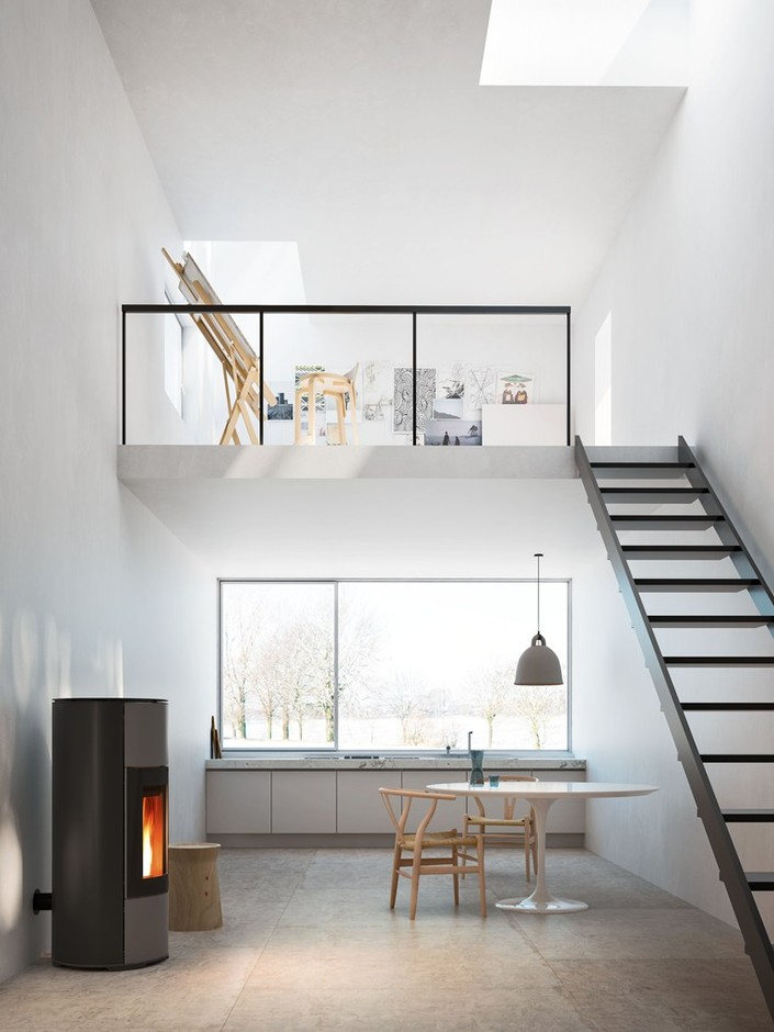 Pellet powder coated steel stove HALO by MCZ GROUP
