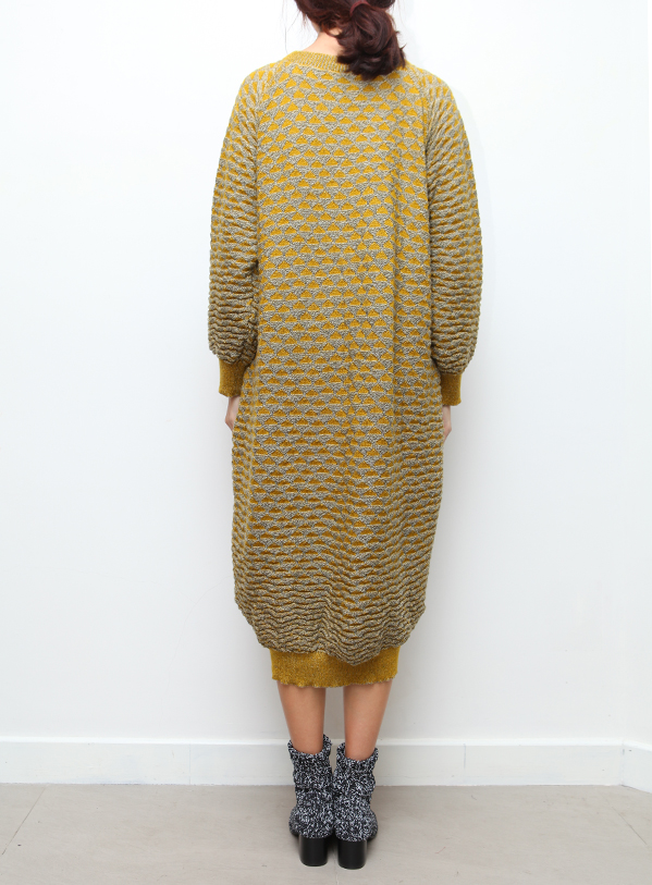 Anntian Yellow Triangles Knit Dress
