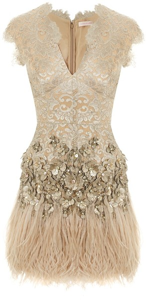 Matthew Williamson Lacquer Lace Feathered Dress in Blue (gold) | Lyst