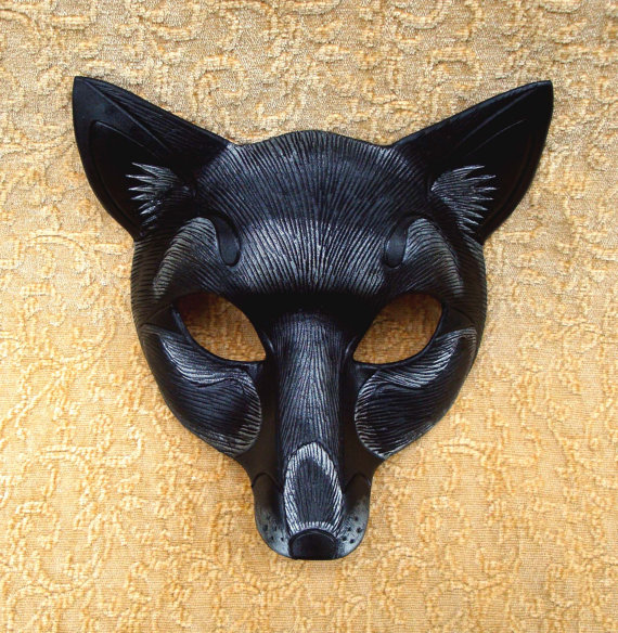 Black Fox Leather Mask... handmade black and silver by Merimask