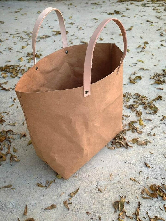 Kraft fabric paper tote bag small lunch by Belltastudio on Etsy