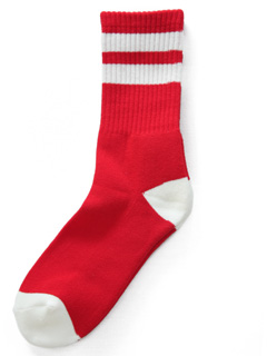 LOVE online store|MEN  Line Sox (red×white)
