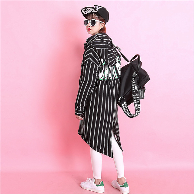 Aliexpress.com : Buy Fashion classic vertical stripe behind the letter print with a hood small dovetail placketing paragraph medium long from Reliable print for t shirt suppliers on Harajuku Trendy Store. | Alibaba Group