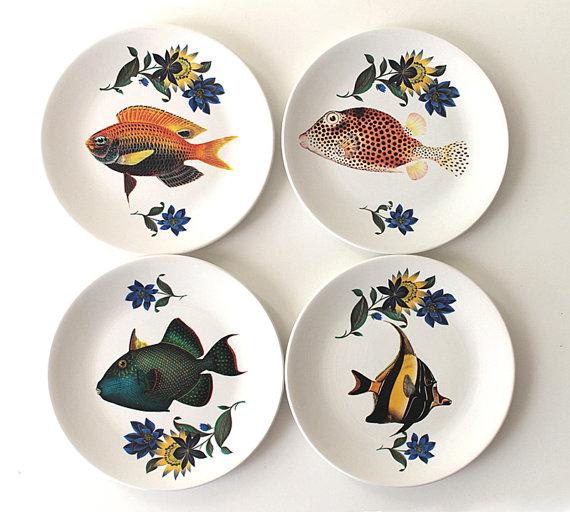Fancy Fish tea plates by yvonneellen on Etsy