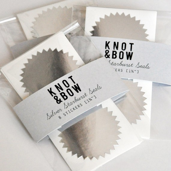 Silver Starburst Seals FREE SHIPPING by knotandbow on Etsy
