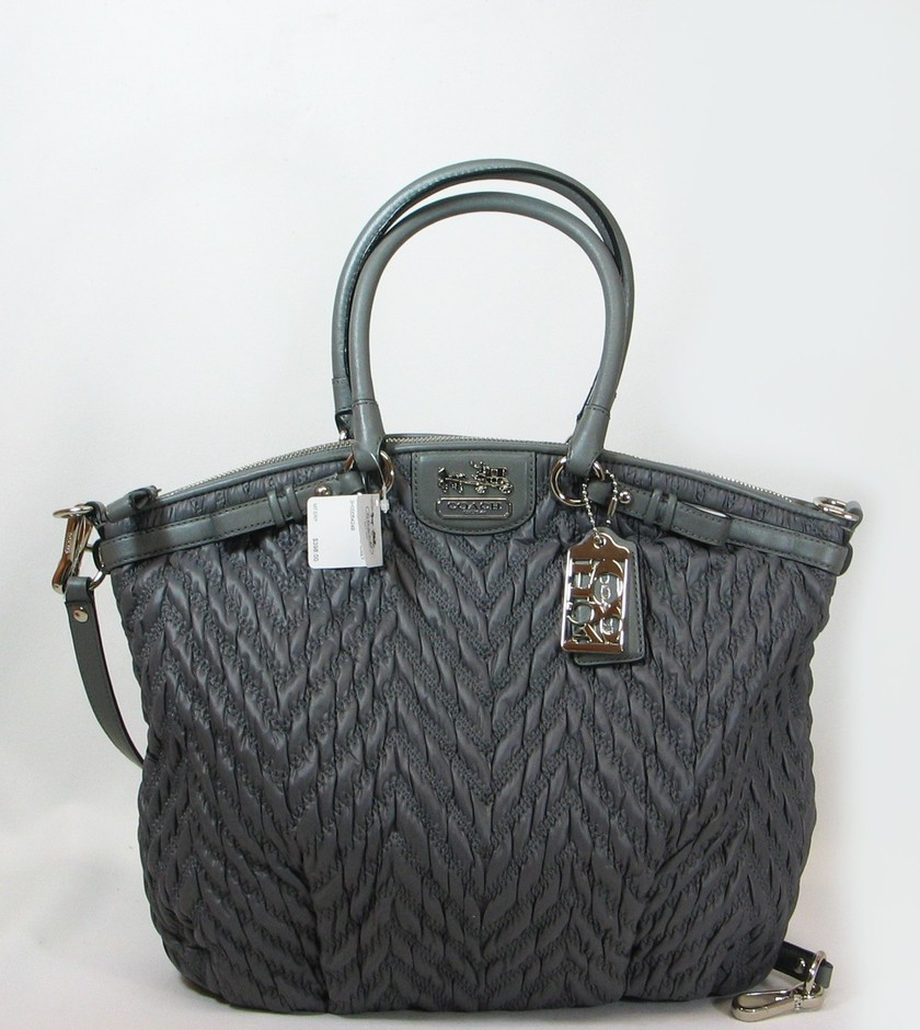Amazon.com: Coach Limited Edition Madison Chevron Linsey Satchel Bag Purse Tote 18634 Grey: Clothing