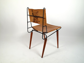Just in Modern: Allan Gould Leather & Iron Side Chair 1950's