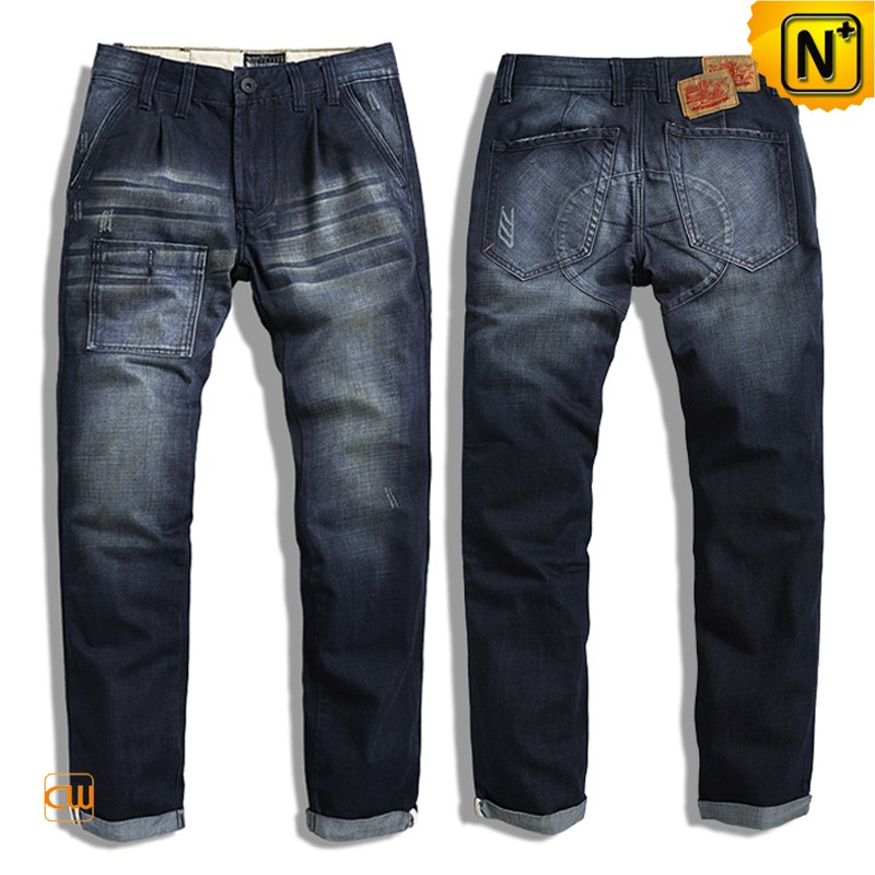 Mens Designer Washed Cuffed Jeans CW140120