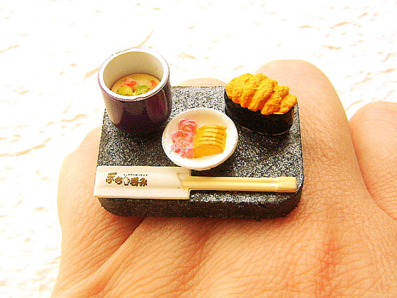 Japanese Food Ring Sushi Pickles Egg Custard by SouZouCreations