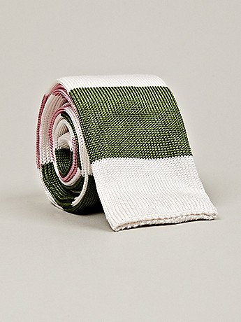 Fancy - Thom Browne Men's Long Flat Knit Tie in pink / white / green