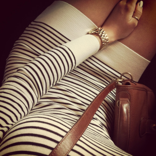 Fancy - Black & White Striped Sweater Dress