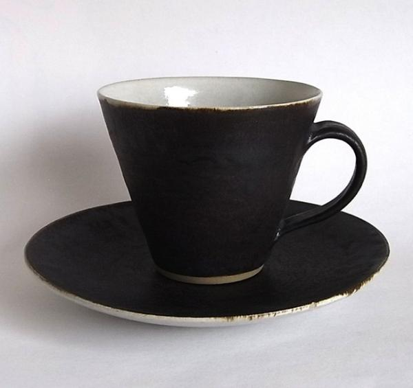 Lucie Rie/Coffee Cup&Saucer/マンガン,錫釉薬 - organ-online.com