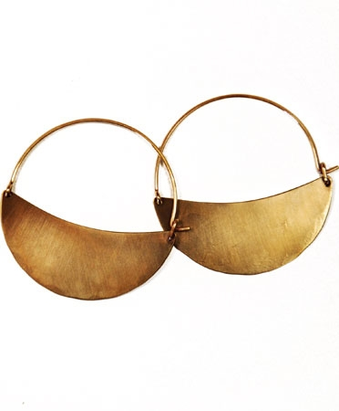 Lila Rice Brass Crescent Hoops