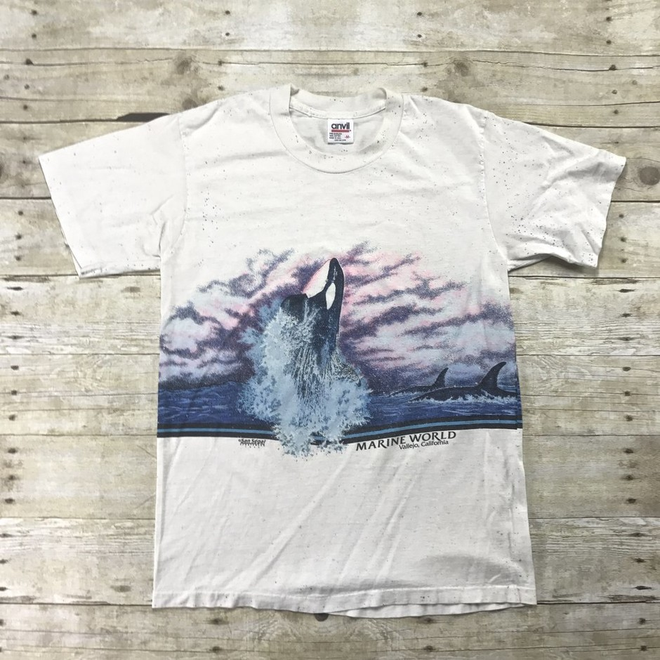 Vintage 1989 Marine World Killer Whale Shirt Made in USA Mens Small   Vintage Mens Goods