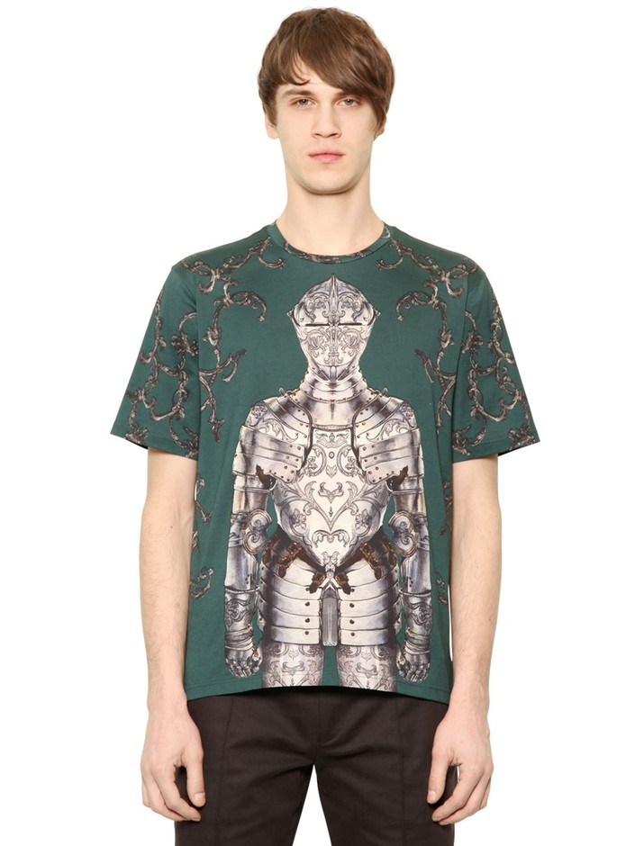 DOLCE & GABBANA - KNIGHT PRINTED COTTON T-SHIRT - LUISAVIAROMA - LUXURY SHOPPING WORLDWIDE SHIPPING - FLORENCE