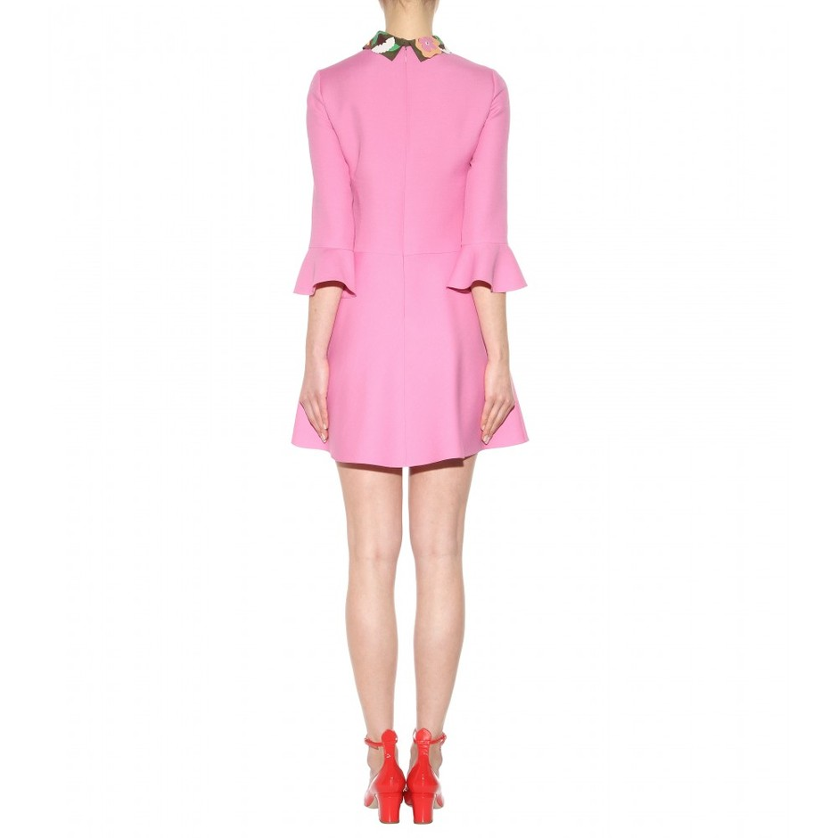 mytheresa.com - Wool and silk dress with leather collar - Short - Dresses - Clothing - Valentino - Luxury Fashion for Women / Designer clothing, shoes, bags
