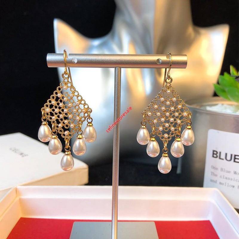 Celien Geometric Pearl Embellished Earrings In Brass With Gold Finish And Crystals Gold/White