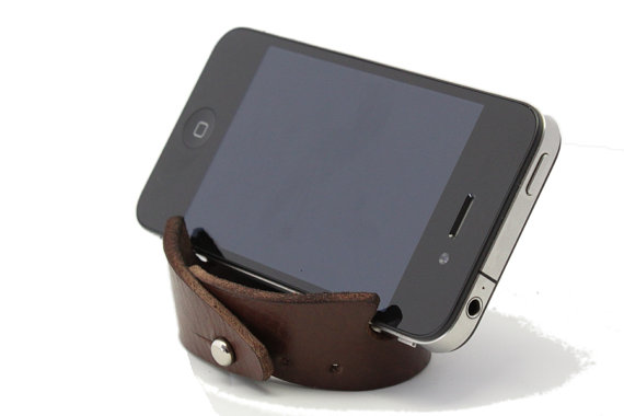Smartphone Bracelet Stand Brown Leather by oopsmark on Etsy