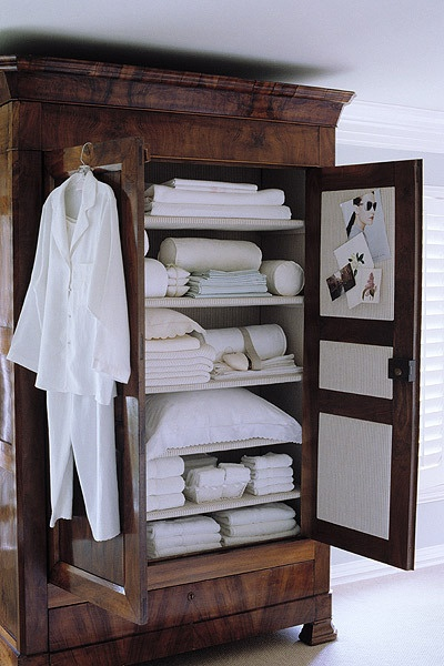 Linen Closet in a Beautiful Armoire!   Bedroom and linens.   Pinterest