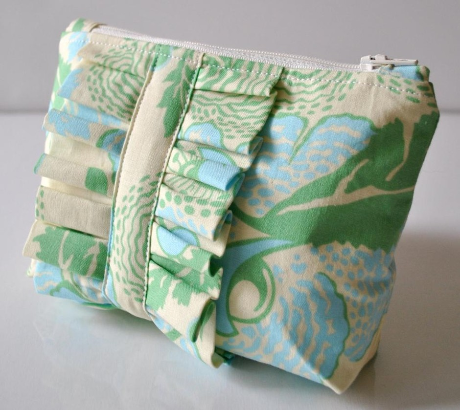 Amy Butler Cosmetics Make Up Bag Ruffle Blue And Green Abstract Florals UK Handmade | Luulla
