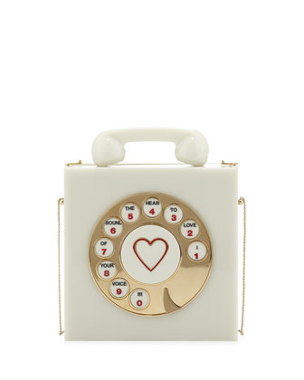 Charlotte Olympia Chatterbox Phone Box Clutch, Vanille - Neiman Marcus