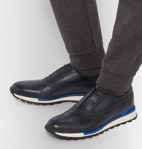 Berluti - Fast Track Polished-Leather Brogue Sneakers