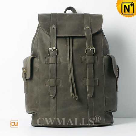 Patented Leather Bags | CWMALLS® Retro Men Leather Flap Backpacks CW908027