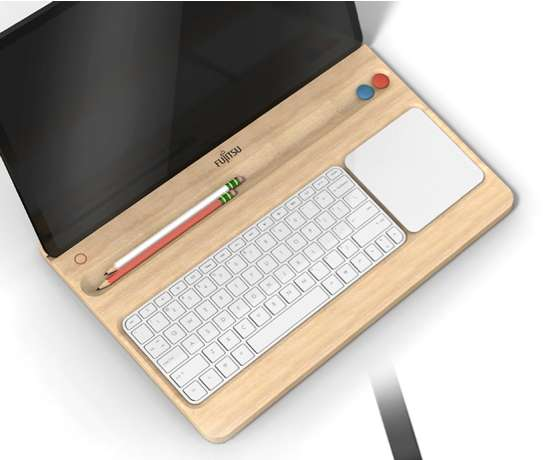 Bento Box Laptops - The Fujitsu Tray Computer is a Wooden Frame Holding Separate Features (GALLERY)